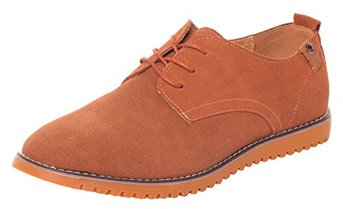 Runday Men's Fashion Suede Leather Shoes Round Toe Lace Up Casual Oxfords(9 D(M)US,tan) (9 D(M) US, Tan) by Runday (Image #7)