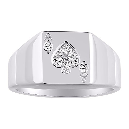 Diamond Designer Lucky Ace of Spades Poker Ring set in Shiny Sterling Silver