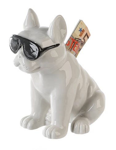 French Bulldog dog piggy bank ceramic, white model