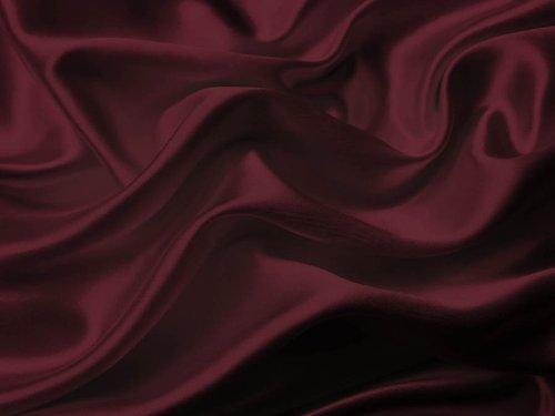 (4Pc 400TC Satin Bed Sheet Pillowcase Set Charmeuse Red Dark Burgundy Maroon)