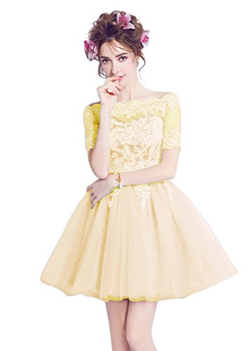 A Short Light Women BessWedding Evening Appliques Prom Lace Sequins Sash Yellow Line up Dress a7Y7n