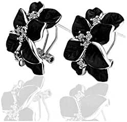 TANGMI Pretty Gold Plated Zircon 18K Black Flower Earrings Hook Elegant Ladies Eearrings