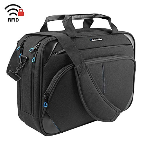 KROSER Laptop Bag 15.6 Inch Laptop Briefcase Laptop Messenger Bag Water Repellent Computer Case Laptop Shoulder Bag Durable Tablet Sleeve with RFID Pockets for Business/College/Women/Men-Black/Blue