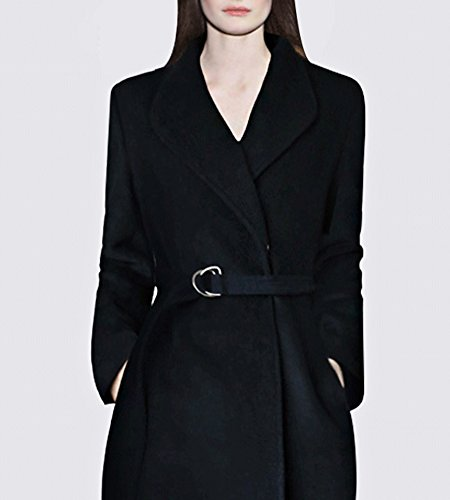 Hego Women's 2016 Winter New Turn-down Collar Temperament Black Long Wool Coat H3246 (L, Black)