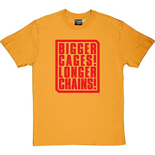 Cages Bigger (Bigger Cages! Longer Chains! Yellow Men's T-Shirt 5XL (Red Print))