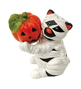 Halloween Mummy Cat Jack-O-Lantern Magnetic Ceramic Salt and Pepper Shaker Set
