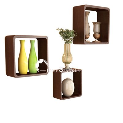 Home Sparkle Wooden Cube Shelf  Set of 3, Brown