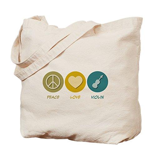 CafePress Peace Love Violin Natural Canvas Tote Bag, Cloth Shopping Bag