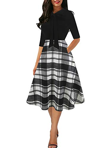 oxiuly Women's Vintage Plaid Bow Tie V-Neck Pockets Casual Work Party Cocktail A-line Tea Dress OX278 (XXL, BK-Wp P5)]()