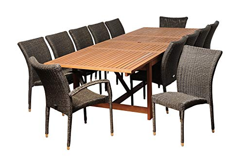 Amazonia Marquette 13-Piece Patio Rectangular Dining Table Set | Eucalyptus Wood and...