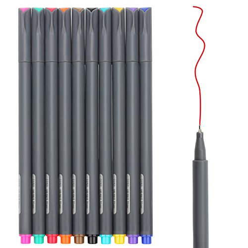 Huhuhero Fineliner Color Pen Set, 0.38 mm Fine Line Drawing Pen, Porous Fine Point Markers Perfect for Coloring Book and Bullet Journal Art Projects, Pack of 10 (Diary Artists Sketch)