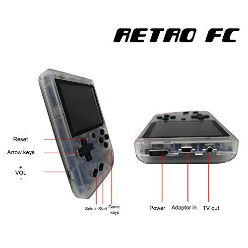 Handheld Game Console, 3 Inch 168 Classic Games Retro FC Game Console, Birthday Parent for Children - Transparent White by Biospirit (Image #4)