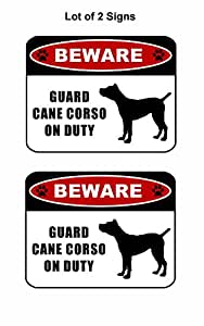 "2Count ""Beware Guardia Cane Corso (silueta) on duty"" 11,5pulgadas x 9pulgadas laminado perro señal"