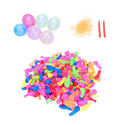 LIOOBO 500 Pcs Splash Balloons and Rings Quickly Colorful Water Ball Latex Balloons with 2 Needles for Decoration Party…