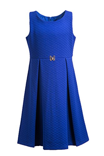 (Emma Riley Girls' Sleeveless Pleated A-line Textured Knit Party Dress, Blue, 4)