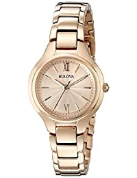 Bulova Womens 97L151 Dress Rose Gold Dial Watch