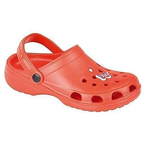 Mujer zuecos de jardín de playa de verano sandalias Flip Flop zapatos de plástico rojo - rojo