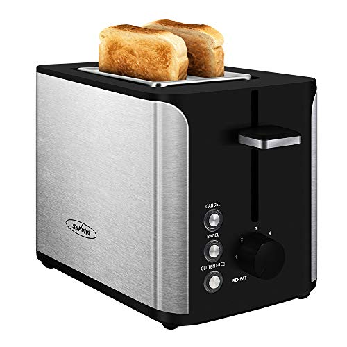 Toaster 2 Slice, Stainless Steel Bread Toaster, Extra Wide Slot Toaster with Bagel Gluten-Free Cancel Function 6-Shade…