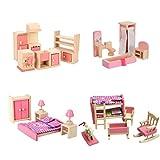 iFlamemingo Wooden Dollhouse Furniture Set Including Kitchen Bathroom Bedroom Kid Room for Dollhouse Pink Color
