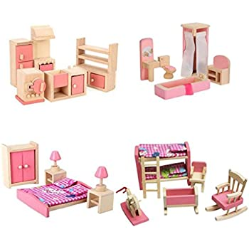 Melissa doug classic victorian wooden and upholstered dollhouse furniture 35 pcs for Melissa and doug bedroom furniture