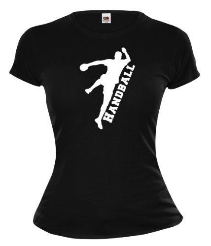Girlie T-Shirt Handball V2-XL-Black-White