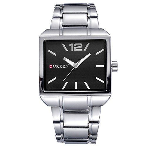 Men's Big face Watch Black dial Quartz Watch Metal case Silver Band Wrist Watch for Men Nice Square Classical Stylish (Black Square Metal Watch)