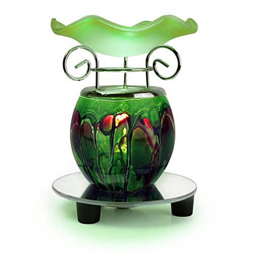 Tomixxx 1 X Glass Marbled Tart or Oil Warmer(green)