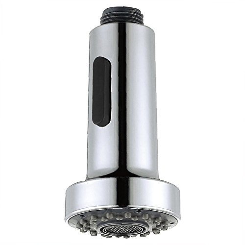 Kitchen Faucet Sprayer Head, Angle Simple Pull Out Sink Faucet Spray Head Nozzle Kitchen Pull Down Faucet Nozzle Spout Replacement Part 2 Functions 1/2-inch IPS, Chrome