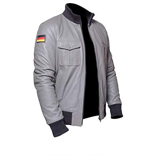 - III-Fashions German Flag Logo Luftwaffe Military Flight Pilot Bomber Grey Leather Jacket