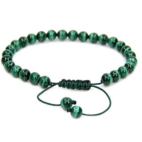 "Natural AA Grade Malachite Gemstone 6mm Round Beads Adjustable Bracelet 7"" Unisex"
