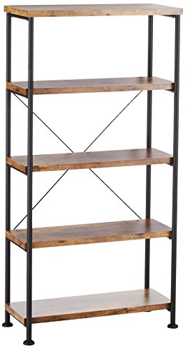 Glavan Small Wood And Metal Open Bookcase Antique Nutmeg And Black