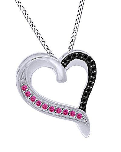 Jewel Zone US 0.10 Ct Simulated Pink Sapphire & Black Spinel Heart Pendent in 10K Solid Gold