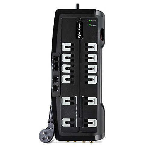 Cyberpower Rj11 Surge Protector (CyberPower CSHT1208TNC2 Home Theater 12-Outlets Surge Suppressor NET, and AV protection 3150)