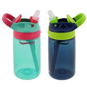 Contigo Kids Autospout Gizmo Water Bottle, 14oz (Persian Green/Navy Blue) - 2 Pack