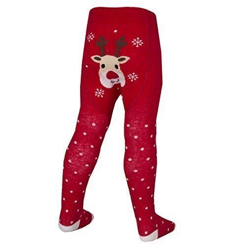 Baby Girls Novelty Festive Christmas Tights Santa Rudolph Stocking Filler 0-24 (18-24 MONTHS, RED RUDOLPH)