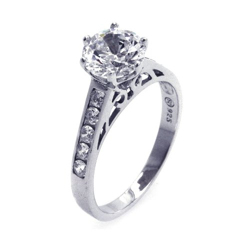 (Round Clear Cubic Zirconia Center Channel Set Side Stones Ring Rhodium Plated Sterling Silver Size 9)