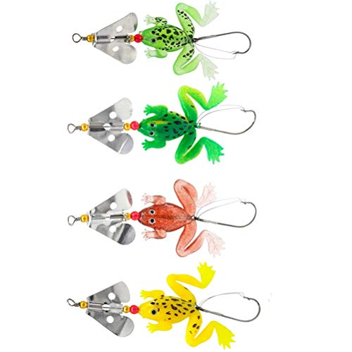2019 New frogs Fishing Lure Set 4pcs/LOT Rubber Soft Fishing Lures Bass SpinnerBait spoon Lures carp fishing tackle