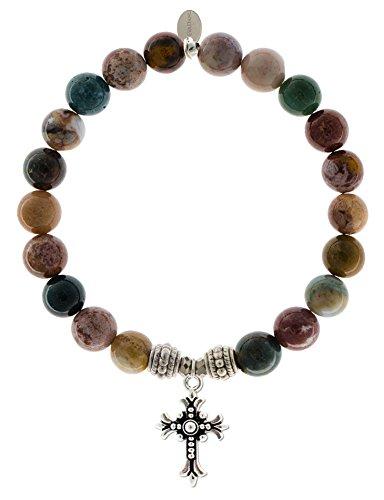 EvaDane Natural Ocean Jasper Gemstone Rope Bead Cross Charm Stretch Bracelet - Size 7 Inch ( 1_OJ_S_R_CRO_7)