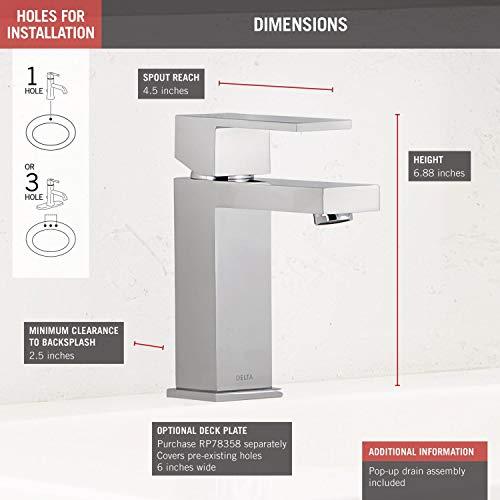 Delta Faucet Modern Single Hole Bathroom Faucet, Single Handle Bathroom Faucet Chrome, Bathroom Sink Faucet, Drain Assembly, Chrome 567LF-PP