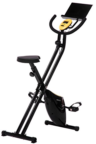 Merax Folding Upright Magnetic Exercise Bike with Pad Holder