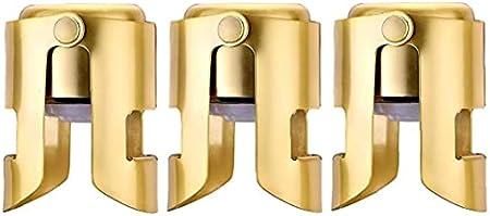 LjzlSxMF Acero Inoxidable tapón de champán Vino espumoso sellador de Fugas Prueba Plug Ahorro 3pcs Oro
