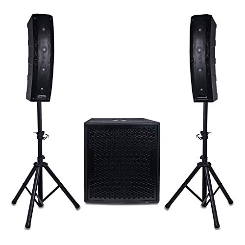 "Sound Town CARPO Series Column Speaker and Subwoofer Line Array System with Two 500W Passive Column Speakers, One 15"" 1600W Powered Subwoofer, Two Speaker Stands and 9-Feet Speakon to Speakon Cables"