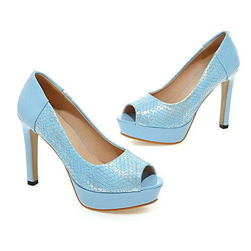 AllhqFashion Women's Pull On Spikes Stilettos PU Solid Peep Toe Sandals Blue 8w3nj