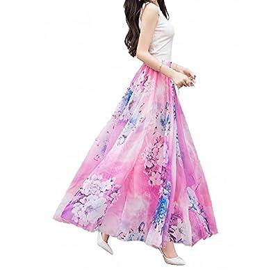 Afibi Women Full/Ankle Length Blending Maxi Chiffon Long Skirt Beach Skirt at Women's Clothing store