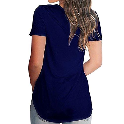 Courtes T Patte Hem Femmes Courb Bleu V Imprimer Blouse Tops Shirts T Swing Shirts Manches Cou XH080vW