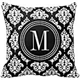Decors Elegant Black and White Damask Personalized Pillows