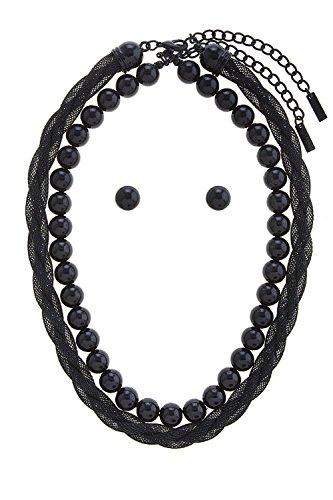 Woven Mesh Chain (BAUBLES & CO FAUX PEARL MESH WOVEN NECKLACE SET (Black))