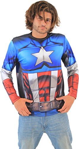 [Marvel Captain America Sublimated LONG SLEEVE Costume T-Shirt (Adult Medium)] (Captain America Costumes For Adults)