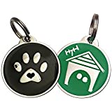 Value Pack Zinc Alloy QR Code Pet ID Tag w/ Smartphone Web/GPS Location Enabled (2 Tags - Black Paw & Green Home)