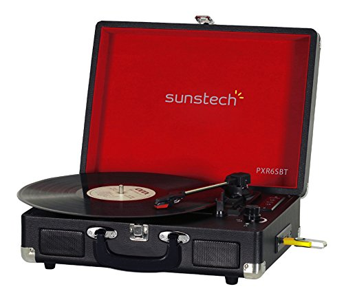 Sunstech PXR6SBTBK - Giradiscos portátil (Bluetooth, USB, MP3)